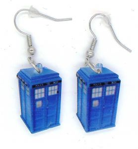 Doctor Who, Tardis, blue box earrings, prop replica